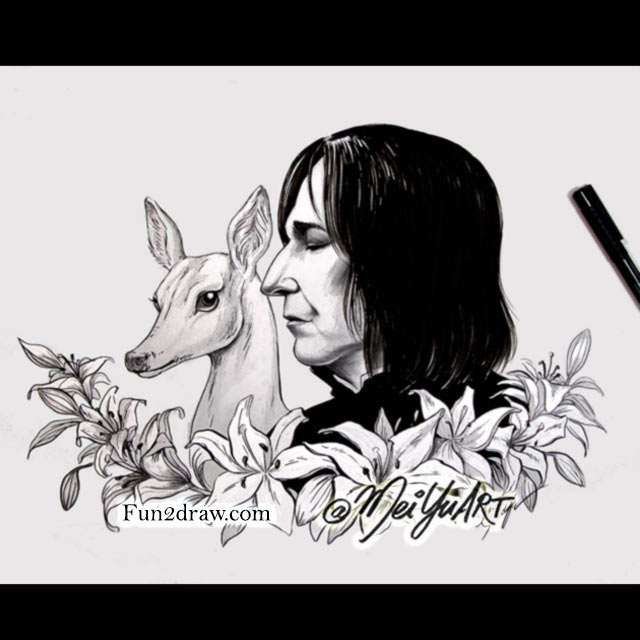 An art tribute to actor Alan Rickman, who played Severus 