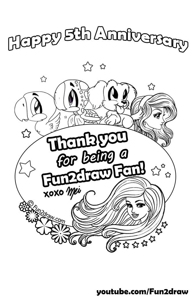black and white colouring page celebrating fun2draws 5th year anniversary