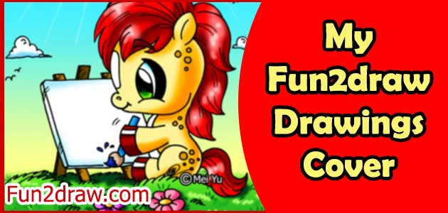 A cute pony artist, perfect as a cover for your book of Fun2draw drawings!