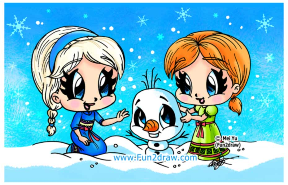 Fun2draw Freebies Elsa and Anna with Olaf