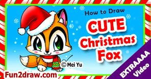 Learn to draw this cute X-Mas Santa Fox for Christmas!