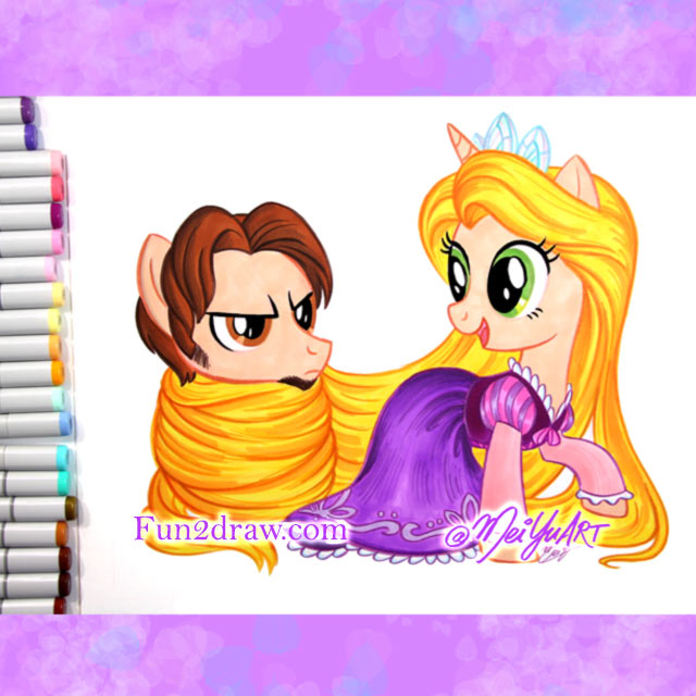 A fun art challenge, turning Rapunzel and Flynn from 
