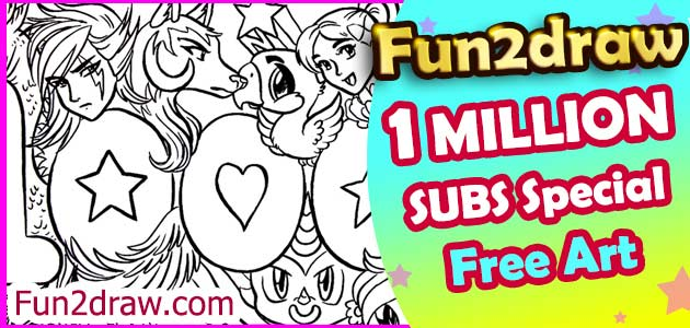 A special artwork that can be colored in, as a thank you to 1 million subscribers on YouTube.