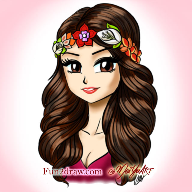 Famous pop star Selena Gomez, drawn in an anime / manga 