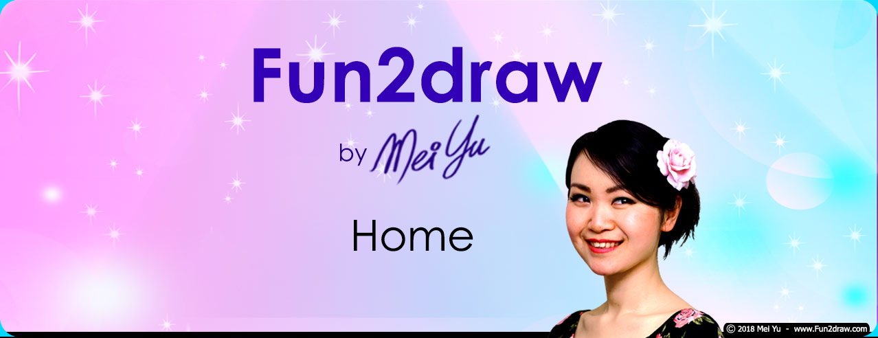 Fun2draw website home header, featuring how-to-draw cartoon, anime, and manga characters