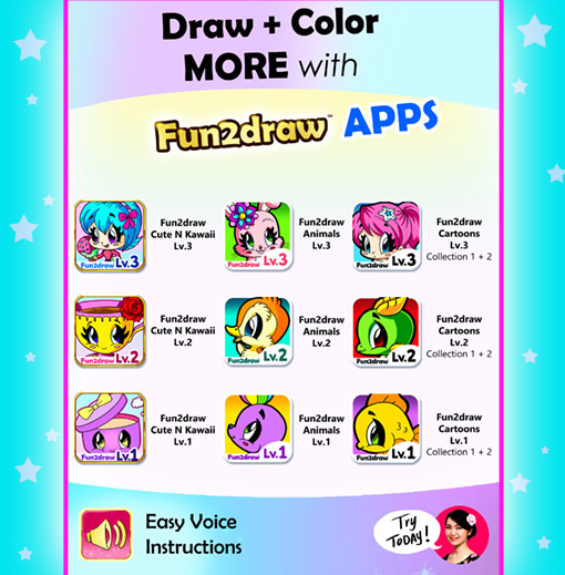 How to draw and color cute and easy cartoons with Fun2draw apps.
