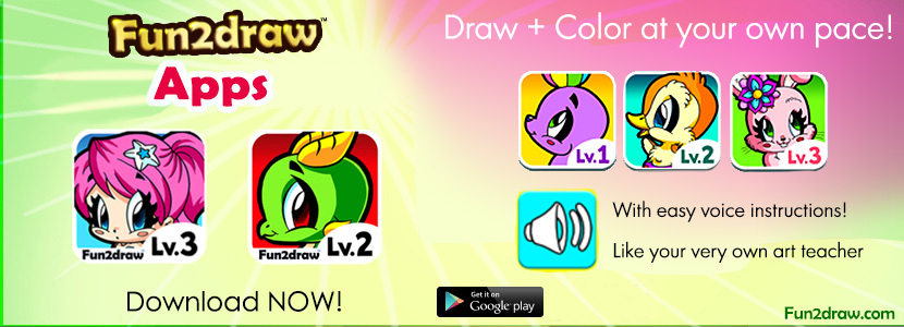 The latest update to Fun2draw apps and ebooks. They teach you how to draw step by step!
