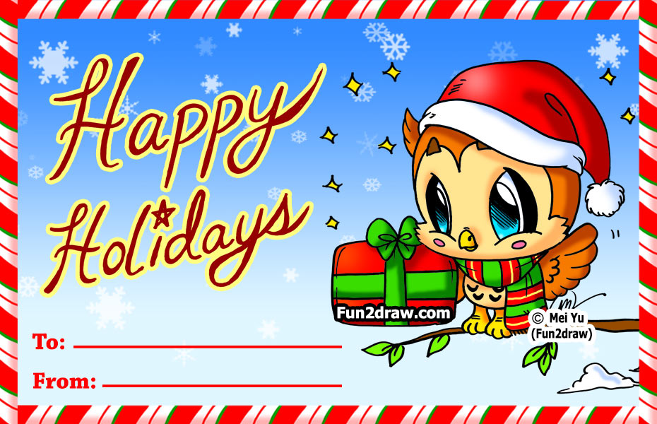 Fun2draw freebies christmas card for How to draw easy christmas cards