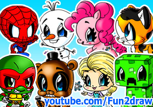 Some cartoon characters you can learn to draw on Fun2draw's Youtube art channel include Olaf, Pinkie Pie, 