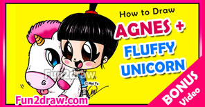 Draw Agnes from Despicable Me with her fluffy unicorn!